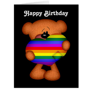 Pride Heart Teddy Bear Happy Birthday Big Greeting Card