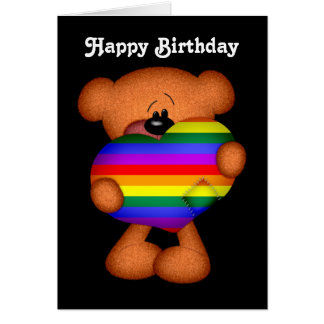 Pride Heart Teddy Bear Happy Birthday Greeting Card