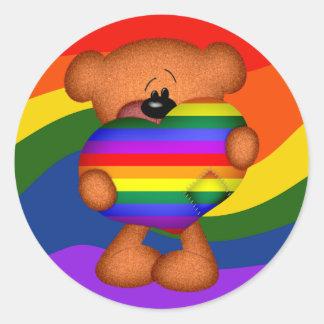 Pride Heart Teddy Bear Round Sticker