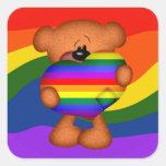 Pride Heart Teddy Bear Square Stickers