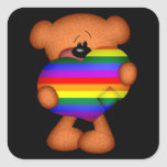 Pride Heart Teddy Bear Square Stickers