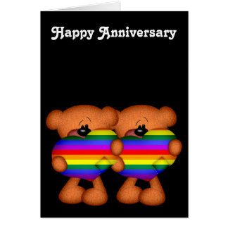 Pride Heart Teddy Bears Happy Anniversary Greeting Card