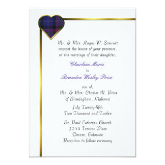 Pride of Scotland Modern Plaid Heart Wedding 13 Cm X 18 Cm Invitation Card