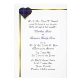 Pride of Scotland Modern Plaid Heart Wedding Custom Invitations