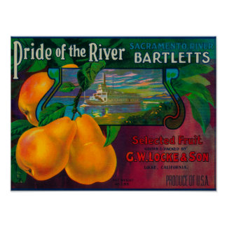Pride of the River Pear Crate LabelLocke, CA Poster