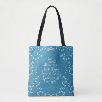 Pride & Prejudice Floral Love Confession Mr Darcy Tote Bag