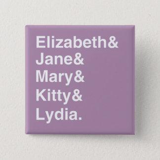 Pride & Prejudice Girls Names List Button  (Purple