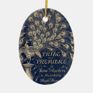 Pride & Prejudice Peacock Cover Oval Ornament
