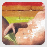 PRIDE Rooftop Hunk - original painting Square Sticker