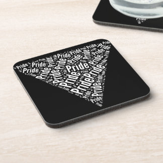 PRIDE WORD TRIANGLE WHITE - png Beverage Coasters