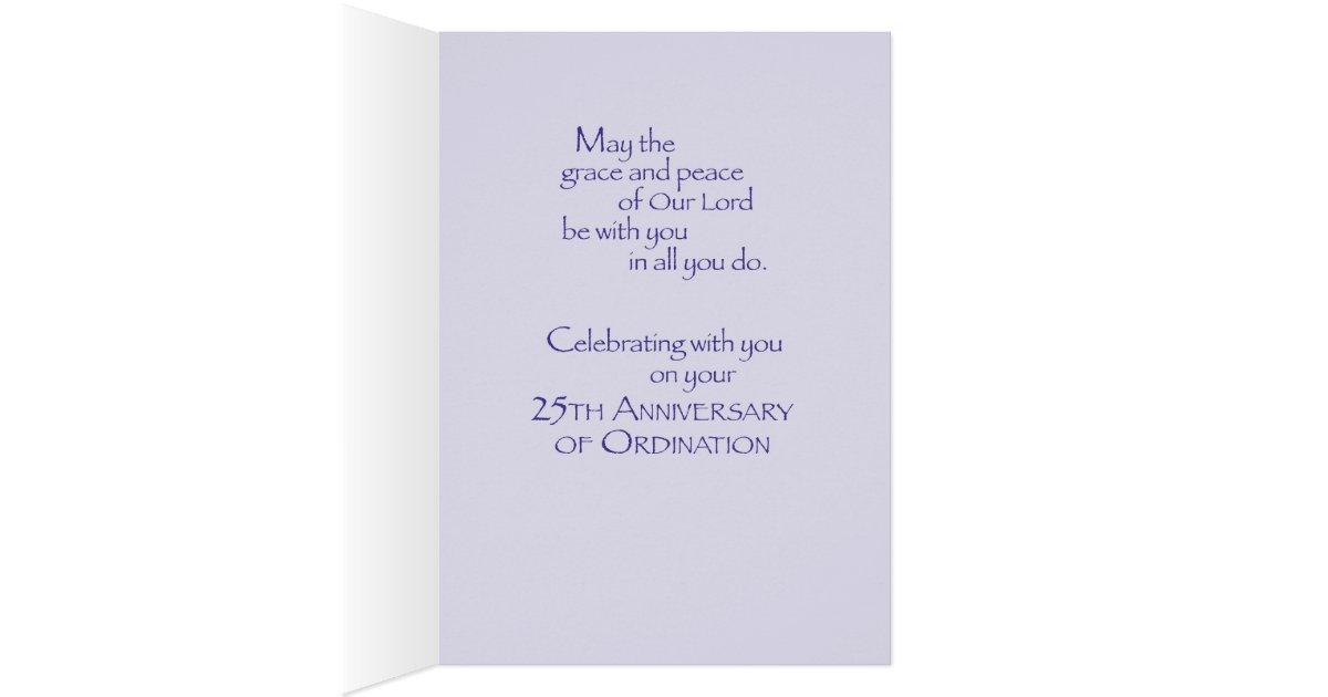 Priest 25th Anniversary Congratulations Purple Card Zazzle