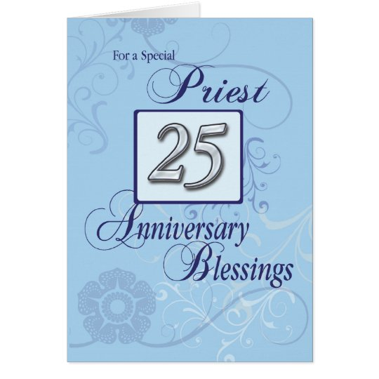 Priest 25th Ordination Anniversary Blue, Silver Card