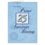 Priest 25th Ordination Anniversary Blue, Silver Greeting Card
