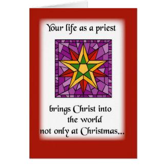 Priest Christmas Star Greeting Card