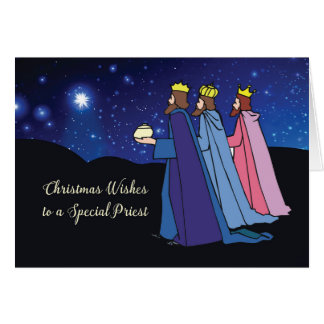 Priest Christmas Wishes Three Kings at Night Card
