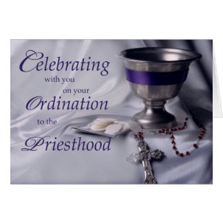 Priest Ordination Congratulations Chalice, Host, R Card