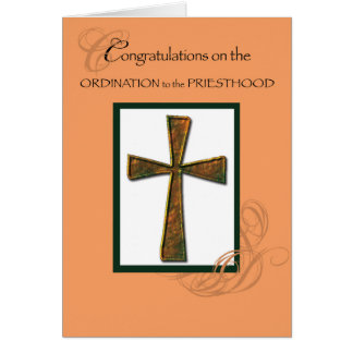 Priest Ordination Congratulations Metallic Cross Card