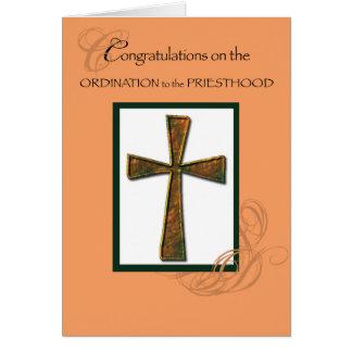 Priest Ordination Congratulations Metallic Cross Greeting Card