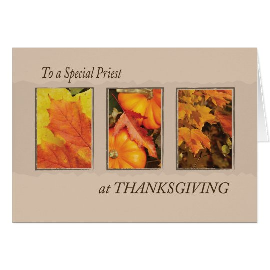 Priest Religious Three Leaves Thanksgiving Card