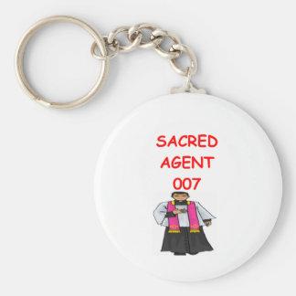 priest secret agent basic round button key ring