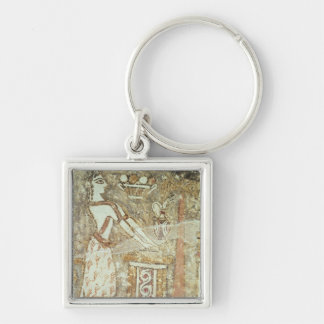 Priestess at an altar, detail from a Silver-Colored square key ring