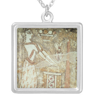 Priestess at an altar, detail from a silver plated necklace