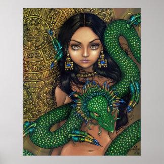 Priestess of Quetzalcoatl Art Print Aztec Dragon