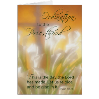 Priesthood Ordination, Lilies & Cross Card
