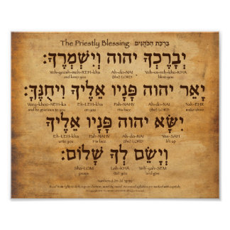 Priestly Blessing Hebrew Poster Num 6:24-26 V.2