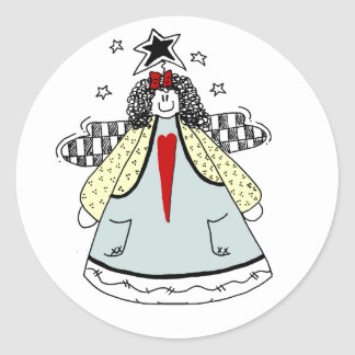 Prim Angel with Heart Country Doodle Classic Round Sticker