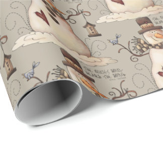 Prim Christmas snowman Holiday party tiled wrap Wrapping Paper