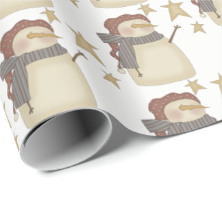 Prim Christmas snowman stars party tiled wrap Wrapping Paper