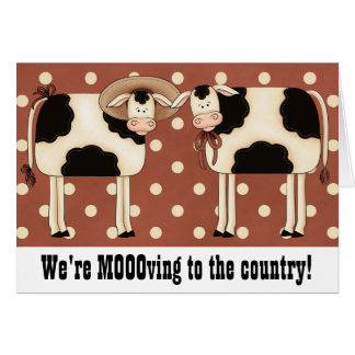 Prim Cows Change of Address Rural Country Home Note Card