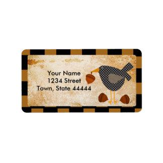 Prim Crow and Acorns Address Labels