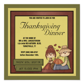 Prim Fall Scarecrow Thanksgiving Dinner Party 13 Cm X 13 Cm Square Invitation Card