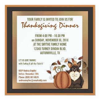 Prim Folkart Autumn Thanksgiving Dinner Party 13 Cm X 13 Cm Square Invitation Card