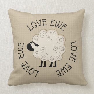 Prim Love Ewe Throw Pillow