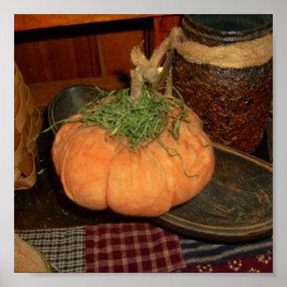 Prim Pumpkin Gathering Poster
