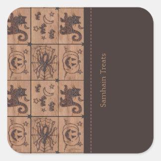 Prim Samhain Patches Treat Bag Labels Square Sticker