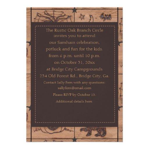 Prim Samhain Patches Woodburned Retro Custom Invitation
