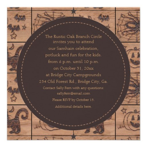 Prim Samhain Patches Woodburned Retro Personalized Invitations
