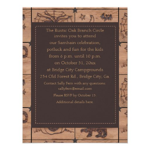 Prim Samhain Patches Woodburned Retro Personalized Announcement