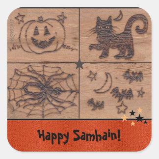 Prim Samhain Patches Woodburned Retro Square Sticker