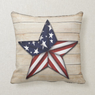 Prim Star on Wood, Americana Throw Pillow