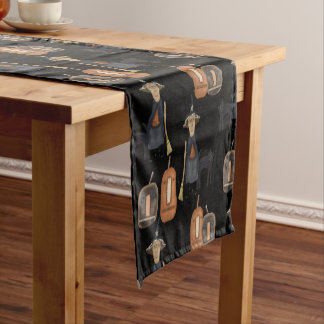 Prim Witch, Cat and Pumpkins | Halloween Short Table Runner