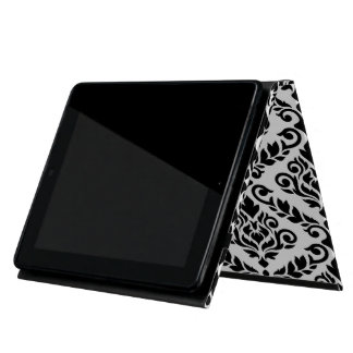 Prima Damask Big Horizontal Ptn Black on White iPad Cases