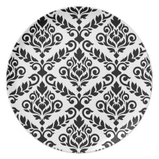 Prima Damask Big Ptn Black on White Party Plate