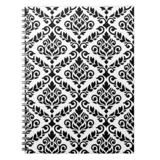 Prima Damask Big Ptn Black on White Spiral Note Book
