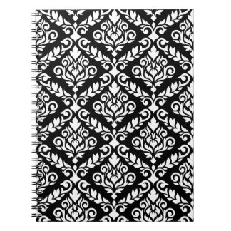 Prima Damask Big Ptn White on Black Spiral Note Book