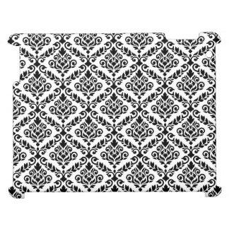 Prima Damask Horizontal Ptn Black on White iPad Cases